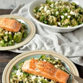 Quinoa, Lentil, Kale And Feta Salad With Salmon