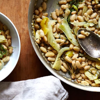 Olive Oil Braised Great Northern Beans with Fennel, Rosemary & Thyme.