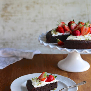 Rosewater Chocolate Almond Olive Oil Cake with Creme fraiche and Strawberries