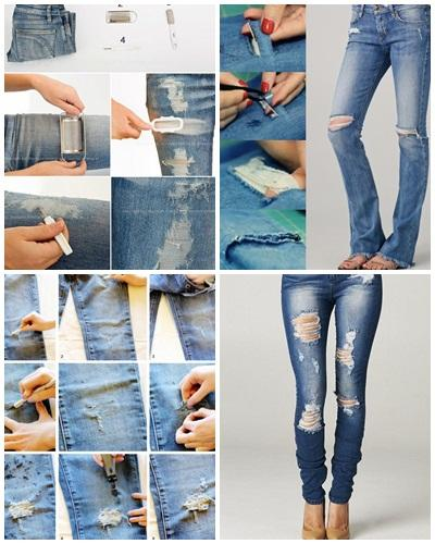 Image result for distressed jeans diy