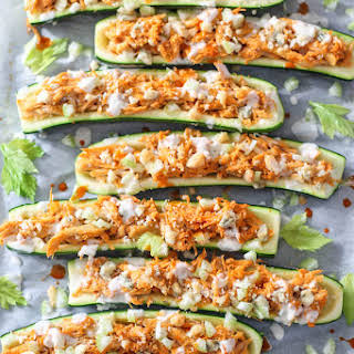 Buffalo Chicken Stuffed Zucchini Boats.