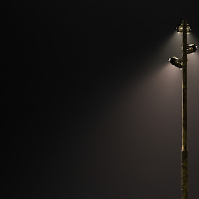 Lamp at night by Mikey Mackinven - City,  Street & Park  Street Scenes ( lamp, dark, night, street lamp, light )