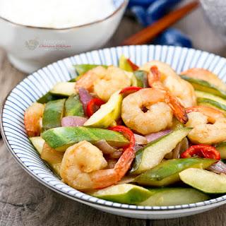 Pickled Cucumber and Shrimp Stir Fry
