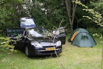 """Photo: De eerste camping bij Montjay (""""Les Arbois""""), we stonden er drie nachten en hadden helaas nog niet heel warm weer"""