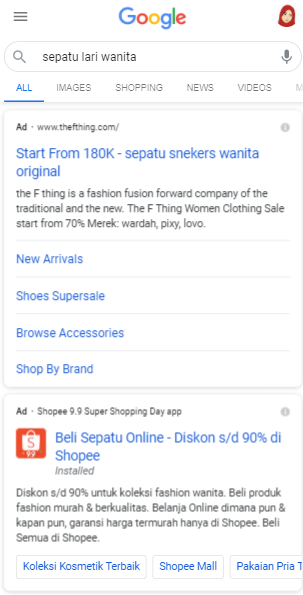 Contoh Google Ads Search