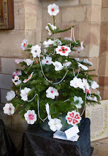 Photo: 'Christmas roses' decorate a tree in Ashbourne Church in 2014
