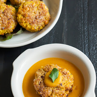 Yellow Split Pea and Millet Cakes with Carrot Miso Sauce (gluten free)