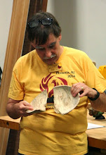Photo: Tim was turning the cored center from the bowl and without any noticed issues with the wood, it flew apart! Is this a teaching moment, or what?  Can you spell S A F E T Y?