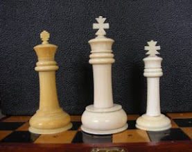 Photo: Comparison of three - non-travel sized  - Cantonese ivory Staunton sets  CH78 - 242 - 302  CH302 is the 'odd-man-out', in that it was clearly meant to be a smaller version (Library-sized in Jaques terms) rather than simply being 'smaller' as is probably the case with my travel sets.  Kings  As with the rest of the pieces, the King on CH78 is closer in style to Western sets - including the cross, which is not as heavy/exaggerated as on the other two kings.