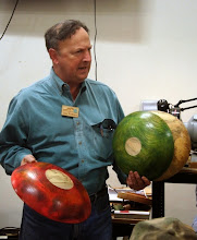 Photo: Stan Wellborn also did some outstanding coloring on two of his large spalted elm bowls.
