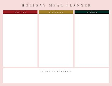 Holiday Meal Planner - Planner template