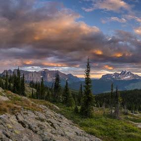 Glacier Park Sunset by Veronika Kovacova - Landscapes Mountains & Hills ( backpacking, glacier, glaciernationalpark, hike, #GARYFONGDRAMATICLIGHT, #WTFBOBDAVIS,  )