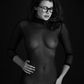 by Mike P - Nudes & Boudoir Artistic Nude ( pretty, figure, sensual, shape, sexy, available light, body, hot, babe, glasses, transparency, erotic, nude, black and white, passion )