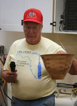 Photo: Bob Grudberg with his segmented oak bowl