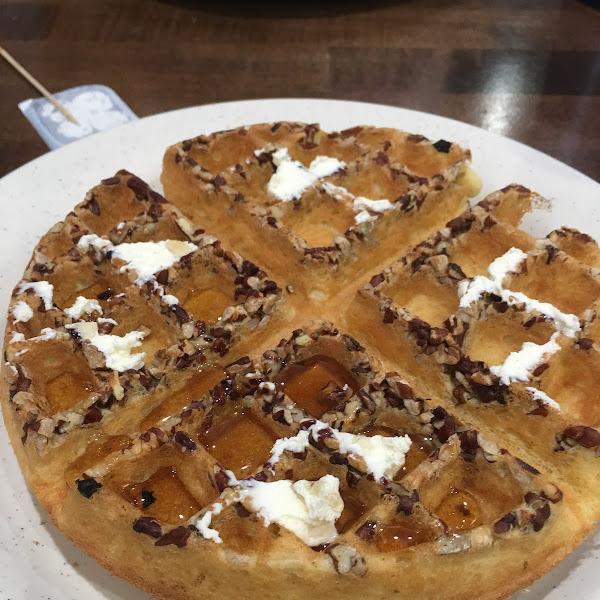 Pecan waffle.  Crispy outside and fluffy inside.