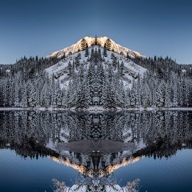 Silver Lake by Brandon Montrone - Digital Art Places ( art, mirror, forest, sunrise, reflection, nature, miirimage, fine art, winter, abstract, scenic, trees, creative, outdoor, mountain, snow, fractal, lake, landscape )