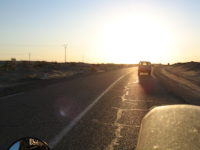 Photo: On the road, early evening following our guide in his 4x4