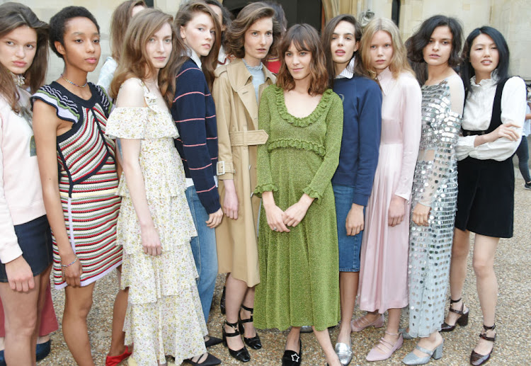 Alexa Chung poses with models at the ALEXACHUNG London Launch & Summer 17 Collection Reveal
