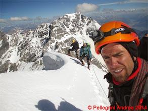Photo: IMG_8935 la nostra cordata su un tratto nevoso della Suldengrat