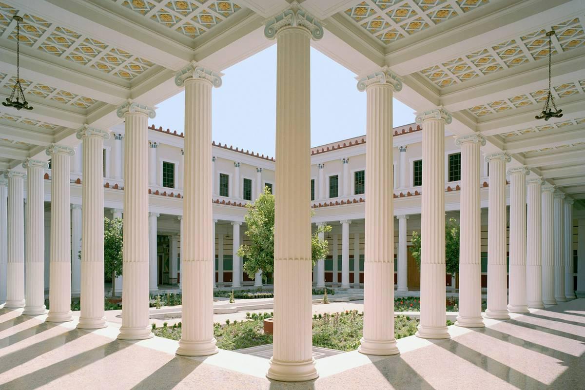 Pillars and courtyard at the Getty Villa