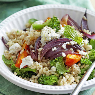 Warm Brown Rice Salad with Roasted Vegetables.