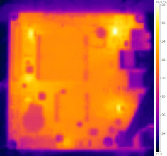 Photo: Thermal imagery of the motherboard running while sitting on a bench uncovered, ~5 minutes after turning on. This one has a different temperature scale to the others since it was so cold. You can see some power regulators heat up quickly but the rest of the board remains pretty cool.