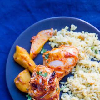 Harissa Chicken Drumsticks + Roasted Acorn Squash