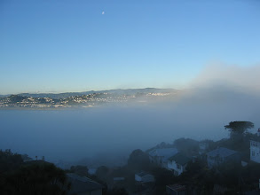 Photo: Sea fog rolls into Lyall Bay - 4:23pm, 19-May-05