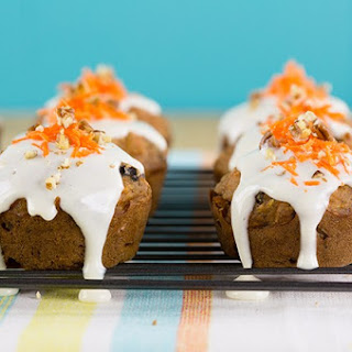 Lightened Up Carrot Cake Muffins With Cream Cheese Glaze.