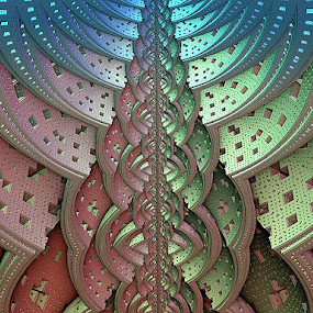 Newton Gone Wild by Pam Blackstone - Illustration Abstract & Patterns ( organic, squares, mandelbulb, blue, 3d, green, linea, 3d art, pink, rendered art, fractal, holes, 3d fractal )