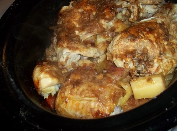 Wash chicken pieces and pat dry.  Spray crock liner with cooking spray.  Place veggies in the...