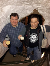 Photo: Fred and Dan explore the interior of the ancientYe Olde Trip to Jerusalem