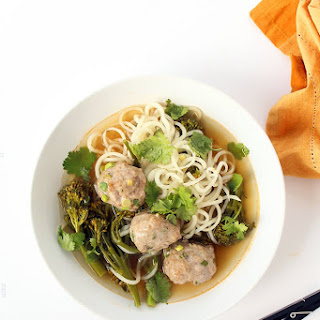 Daikon Noodles and Broccolini with Asian Pork Meatballs Recipe
