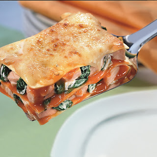 Lasagne mit Lachs und Blattspinat