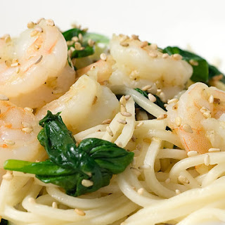 Sesame Shrimp and Spinach Noodles