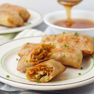 Asian Cabbage Baked Egg Rolls with Tempeh.