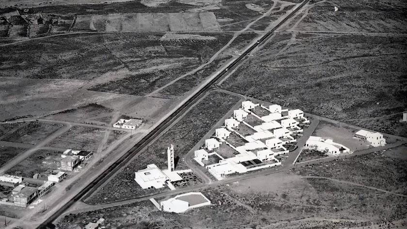 Vista aérea de la Puebla hace medio siglo.