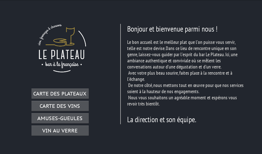 Menu bar Le Plateau- screenshot
