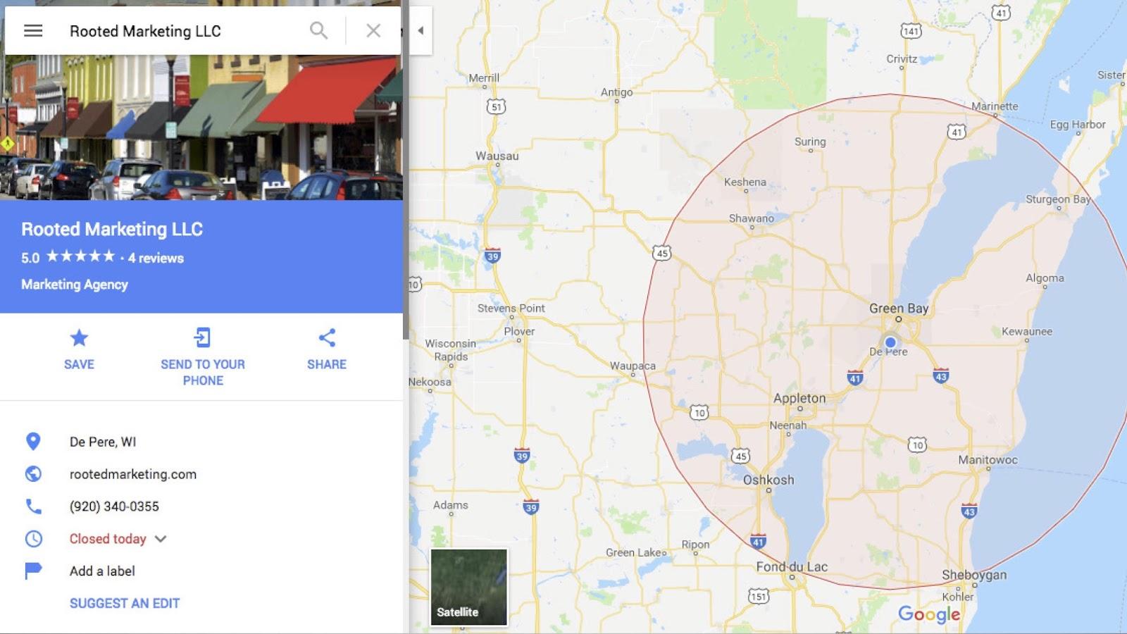 Service Area Business Map on Google