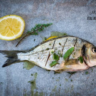 Simple Roasted Whole Fish With Herbs And Garlic.