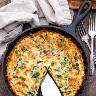 Spinach, Bacon, Cheese Quiche with Sweet Potato Crust.