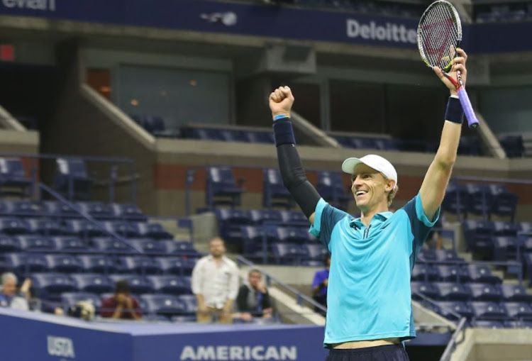 Kevin Anderson of South Africa celebrates after match point against Sam Querrey of the United States (not pictured) on day nine of the US Open tennis tournament at USTA Billie Jean King National Tennis Center.