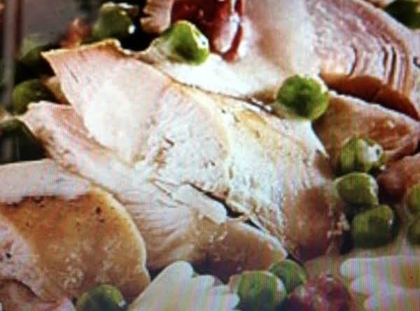 Roast Chicken With Peas, Prosciutto And Cream Recipe
