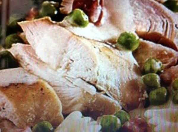 Roast Chicken With Peas, Prosciutto And Cream
