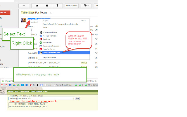 Lloyd's Matrix rt-click name & email search