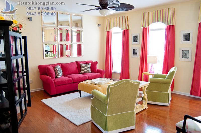 thiết kế phòng khách kết hợp rèm cửa