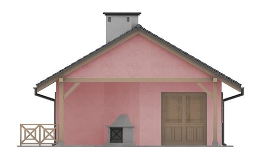 G196 - Budynek rekreacyjny z sauną - Elewacja przednia