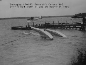 Photo: Salvaging Transair's CF-GRT after a bad storm in Lac du Bonnet in 1950