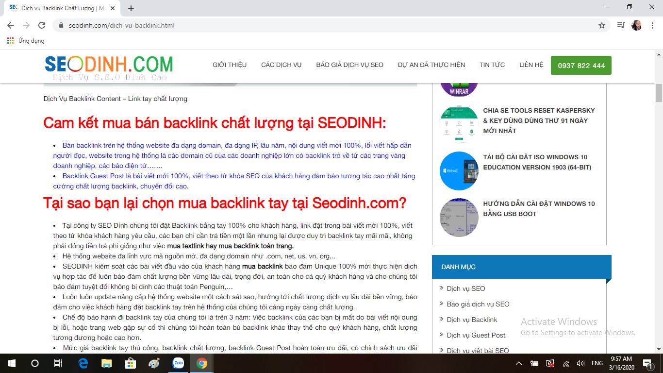Mua backlink chất lượng tại Seo Đỉnh