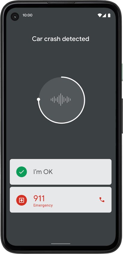 "Circle graphic with soundwave with ""I'm ok"" at bottom and  ""911"" as buttons."